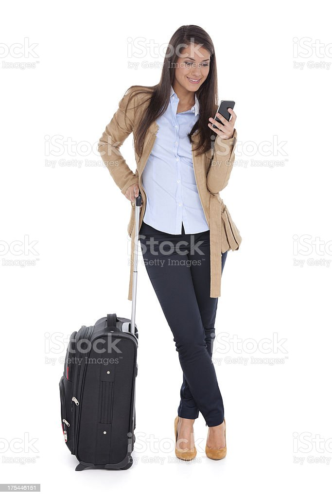 travel lady text message royalty-free stock photo