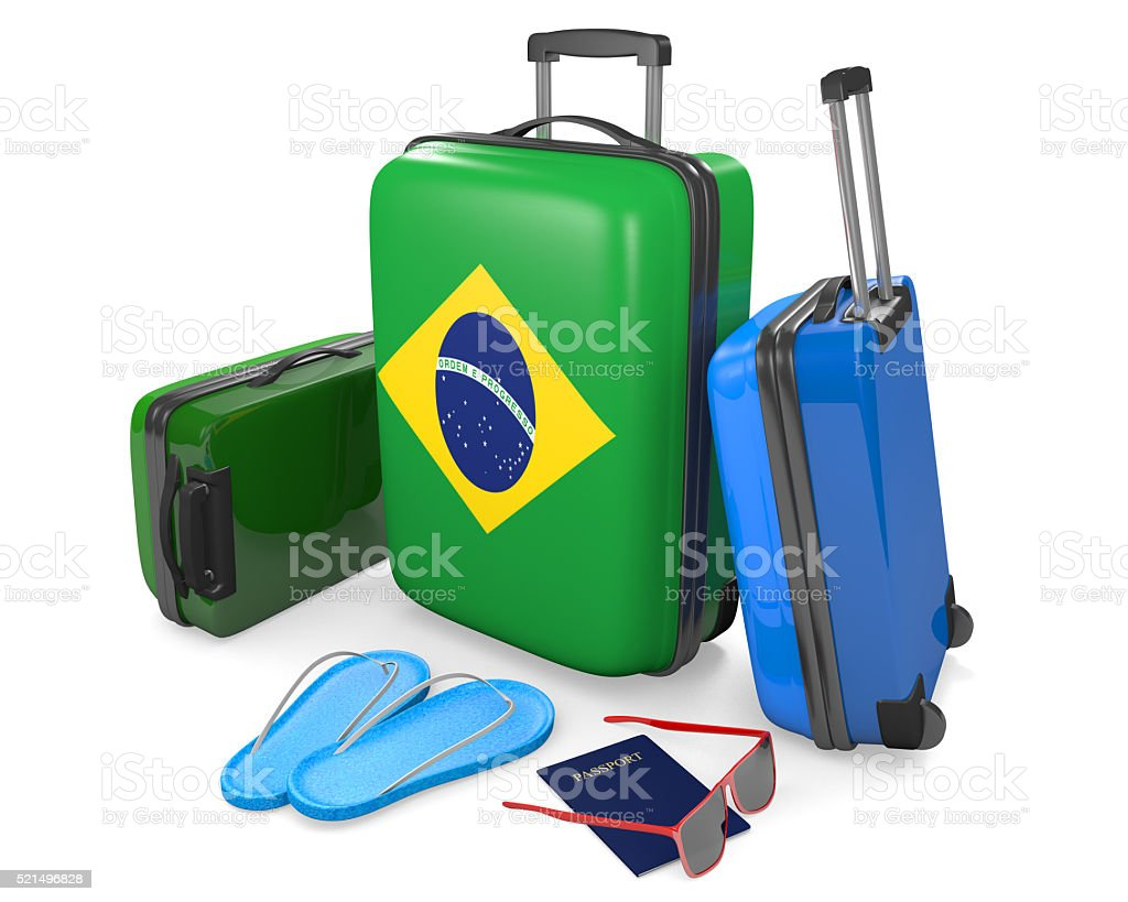 Travel luggage items and accessories for vacation to Brazil stock photo