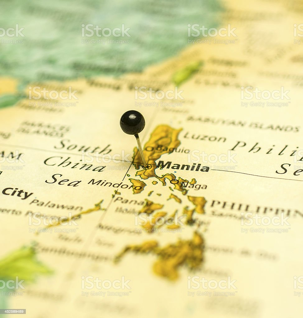 Travel Map Macro Of Manila Philippines And China Sea stock photo