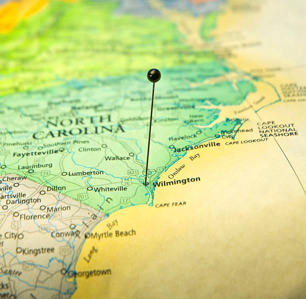 Travel Map Macro Of North Carolina Coast And Wilmington