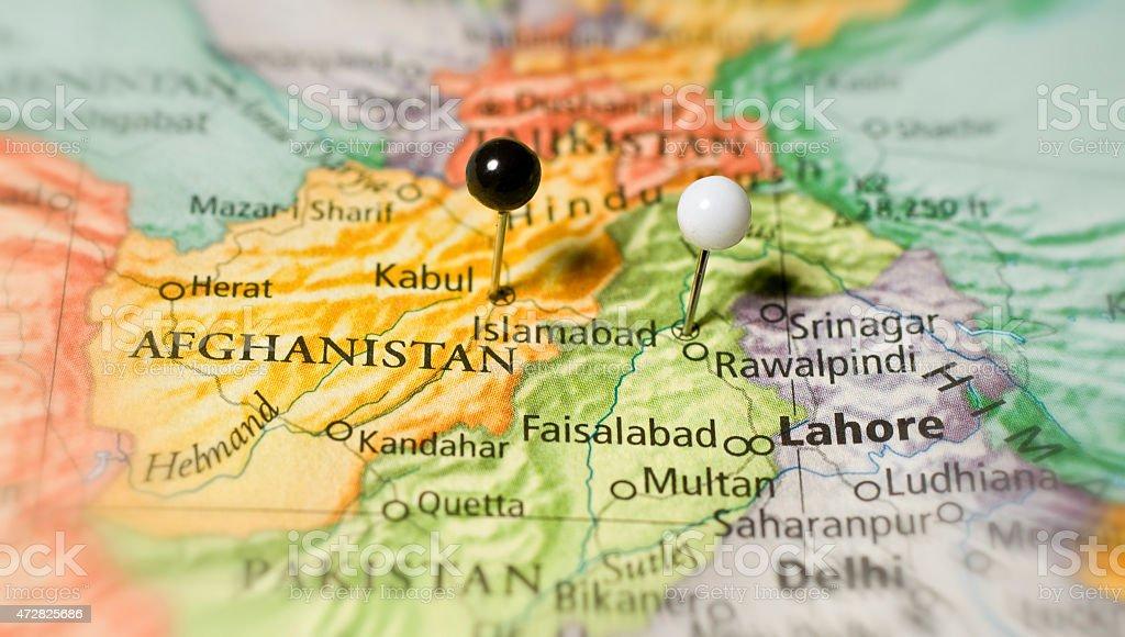 Travel Map Of Afghanistan Kabul Kandahar Lahore stock photo