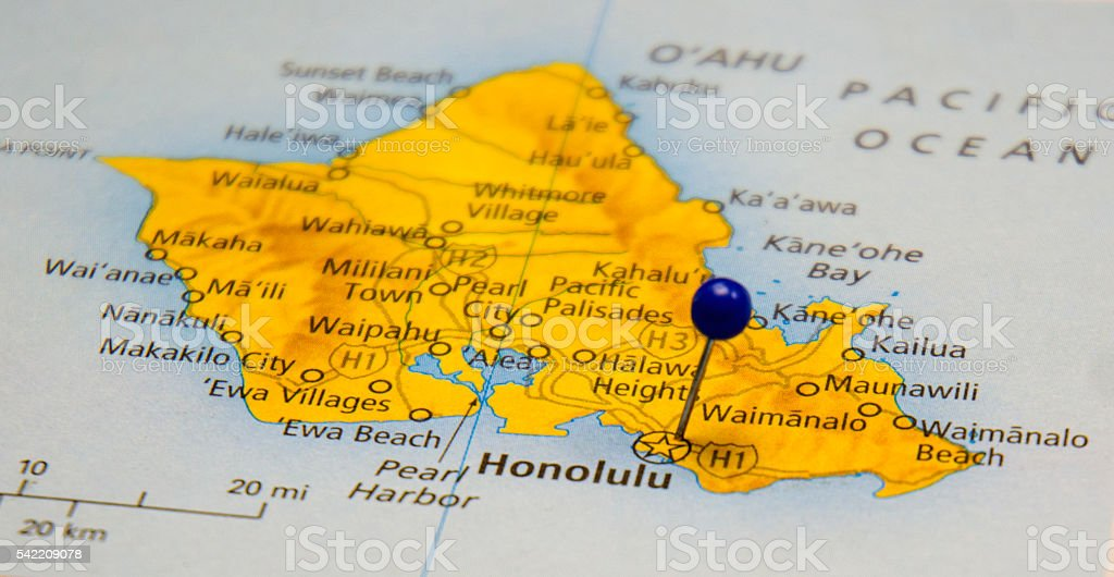 Travel Map Of Honolulu Hawaii Oahu stock photo