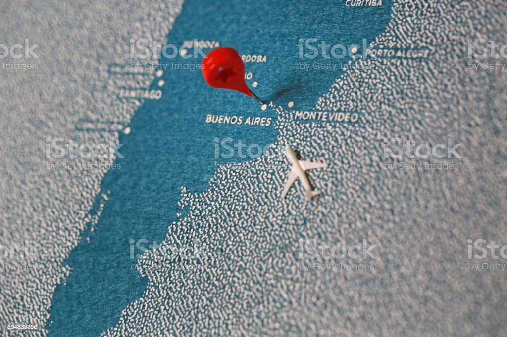 travel melt painted map with pin, south america stock photo