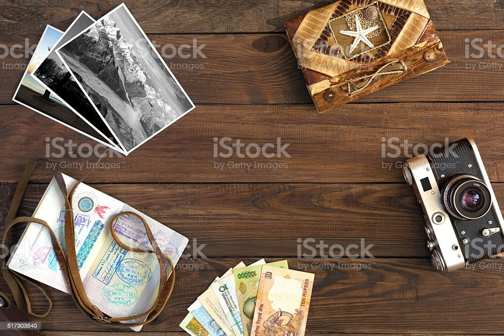 Travel Memories Vintage Composition with Photo Cards and Passport stock photo