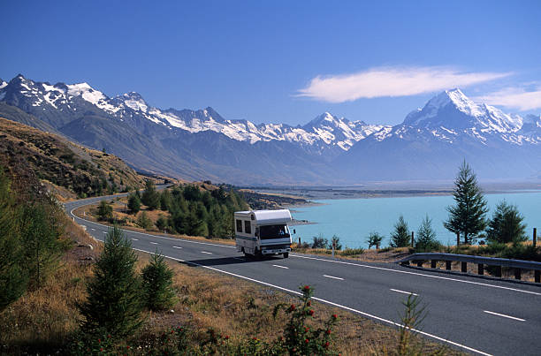 RV travel near Mount Cook and Lake Pukaki, New Zealand​​​ foto