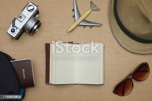 istock Travel objects flat lay on wooden table 1153630804