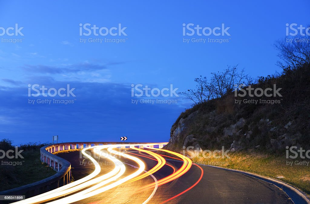 Travel of a transport in motion at night stock photo