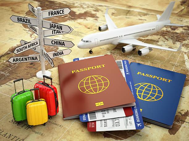 トラベルや観光のコンセプトを表現します。パスポート、飛行機、airtickets 、・バッガ(Garima bagga ) ストックフォト