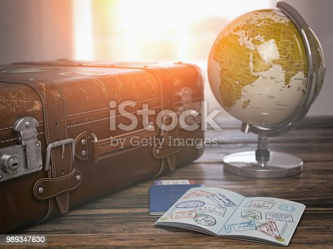 Travel or turism concept.  Old  suitcase  with open passport with visa stamps and globe. 3d illustration Map of the world invidually drawn in Adobe Illustrator and have own outline.  It was generated using map data from the public domain http://www.lib.utexas.edu/maps/world_maps/world_rel_803005AI_2003.jpg