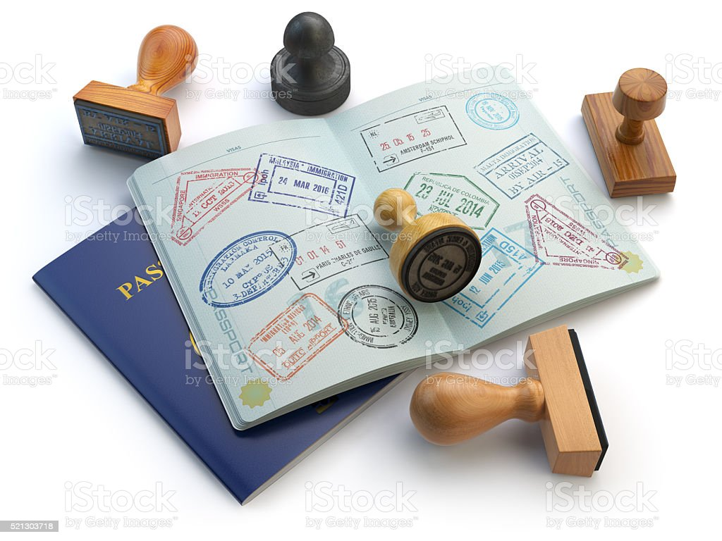 Travel or turism concept. Opened passport with visa stamps stock photo