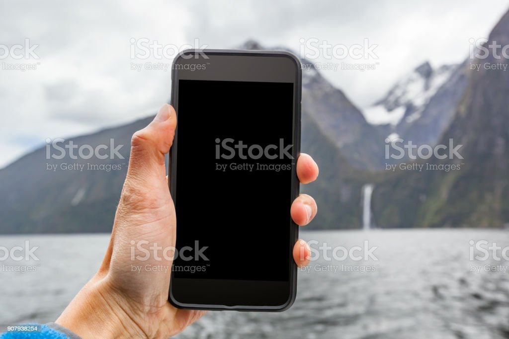 Travel Phone Mock-up stock photo