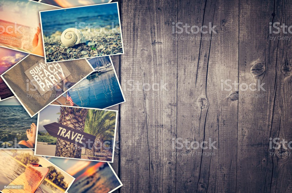 Travel photo collage on wooden background – Foto