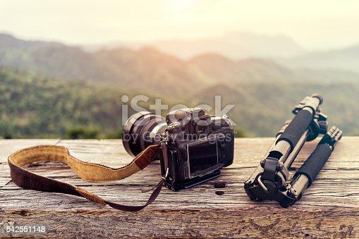 istock Travel photographer equipment with beautiful landscape 542551148