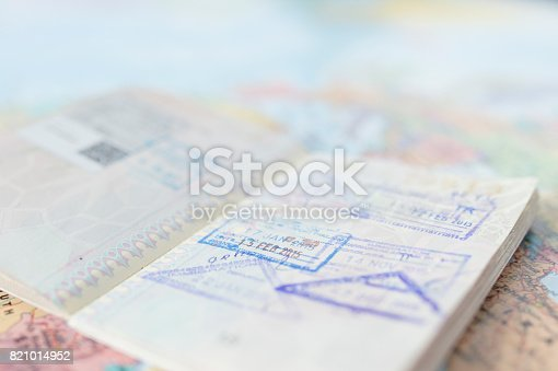istock Travel plan concept and preparing to travel , Passport , money, telephone on world map background (Selective Focus) 821014952