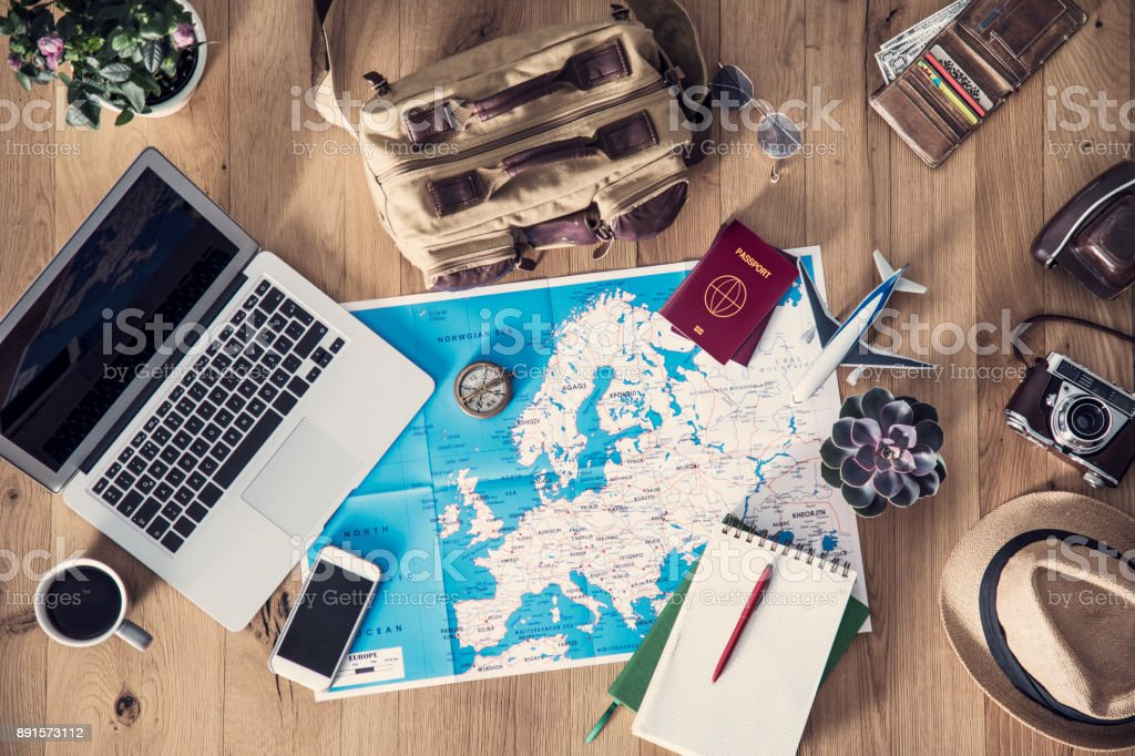 Travel planning concept on map royalty-free stock photo