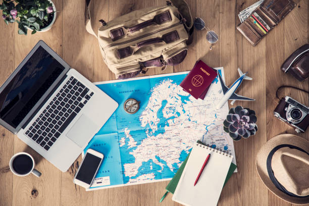 travel planning concept on map - europe map stock photos and pictures