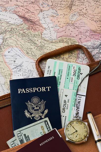 Travel related items in black and white stock photo