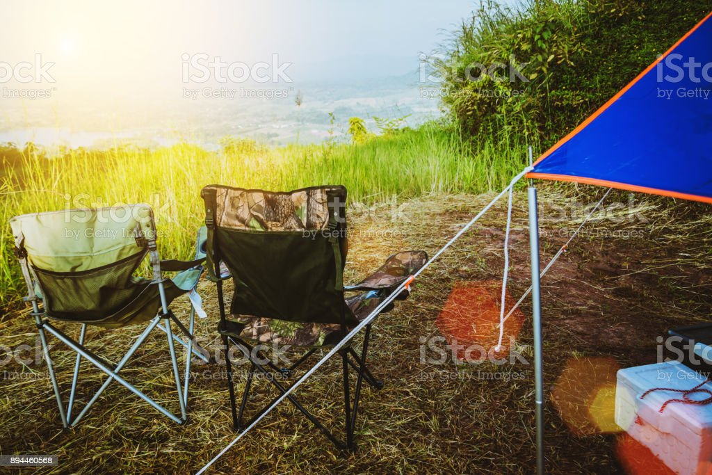 travel relax in the holiday. camping on the Mountain. rest outdoor chair. Thailand stock photo