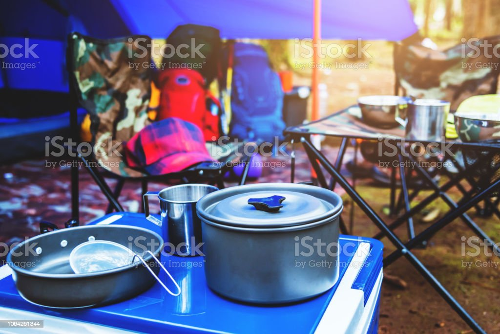 travel relax in the holiday. camping on the Mountain. Thailand stock photo