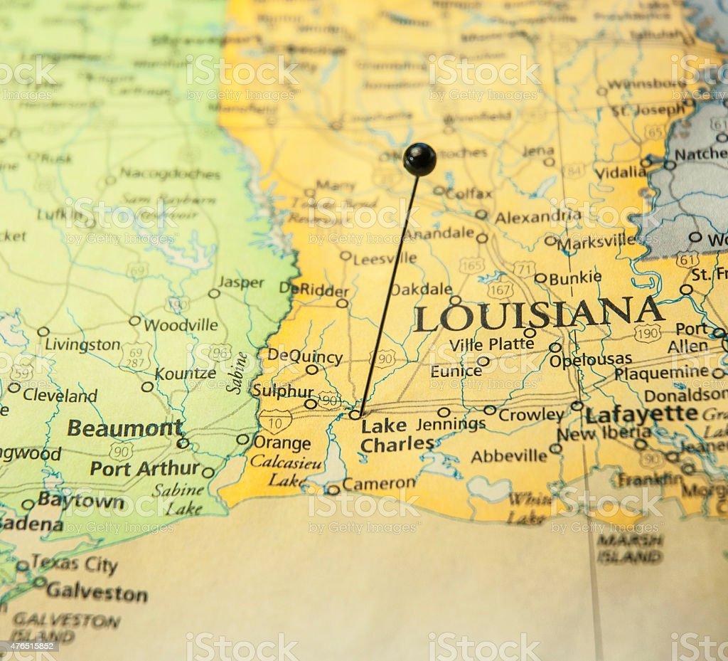 Travel Road Map Lake Charles Louisiana texas Lafayette Gulf Coast stock photo