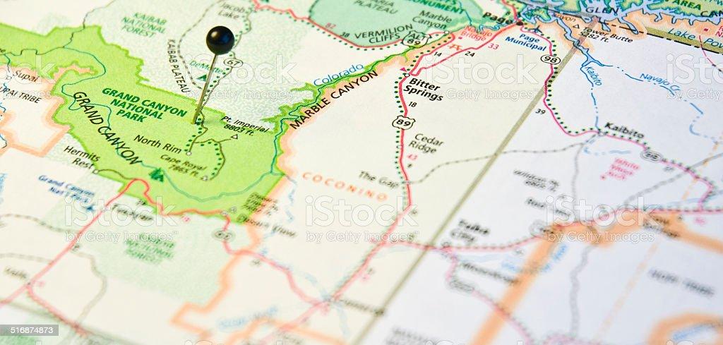 Travel Road Map Macro Of Grand Canyon National Park Stock
