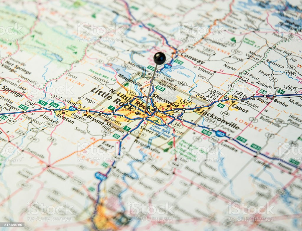 Travel Road Map Macro Of Little Rock Alabama stock photo