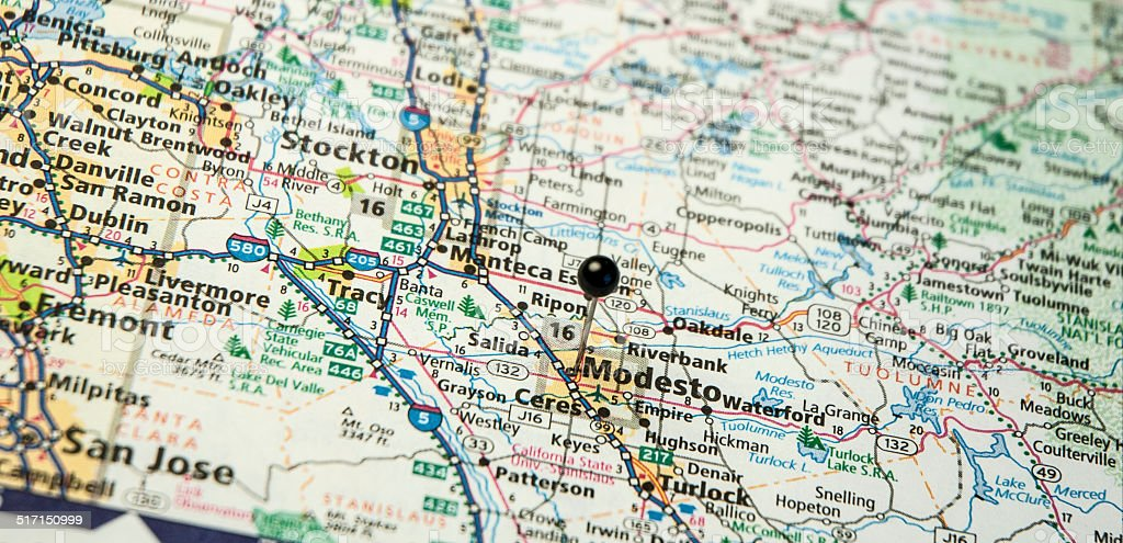 Travel Road Map Macro Of Modesto And Stockton California