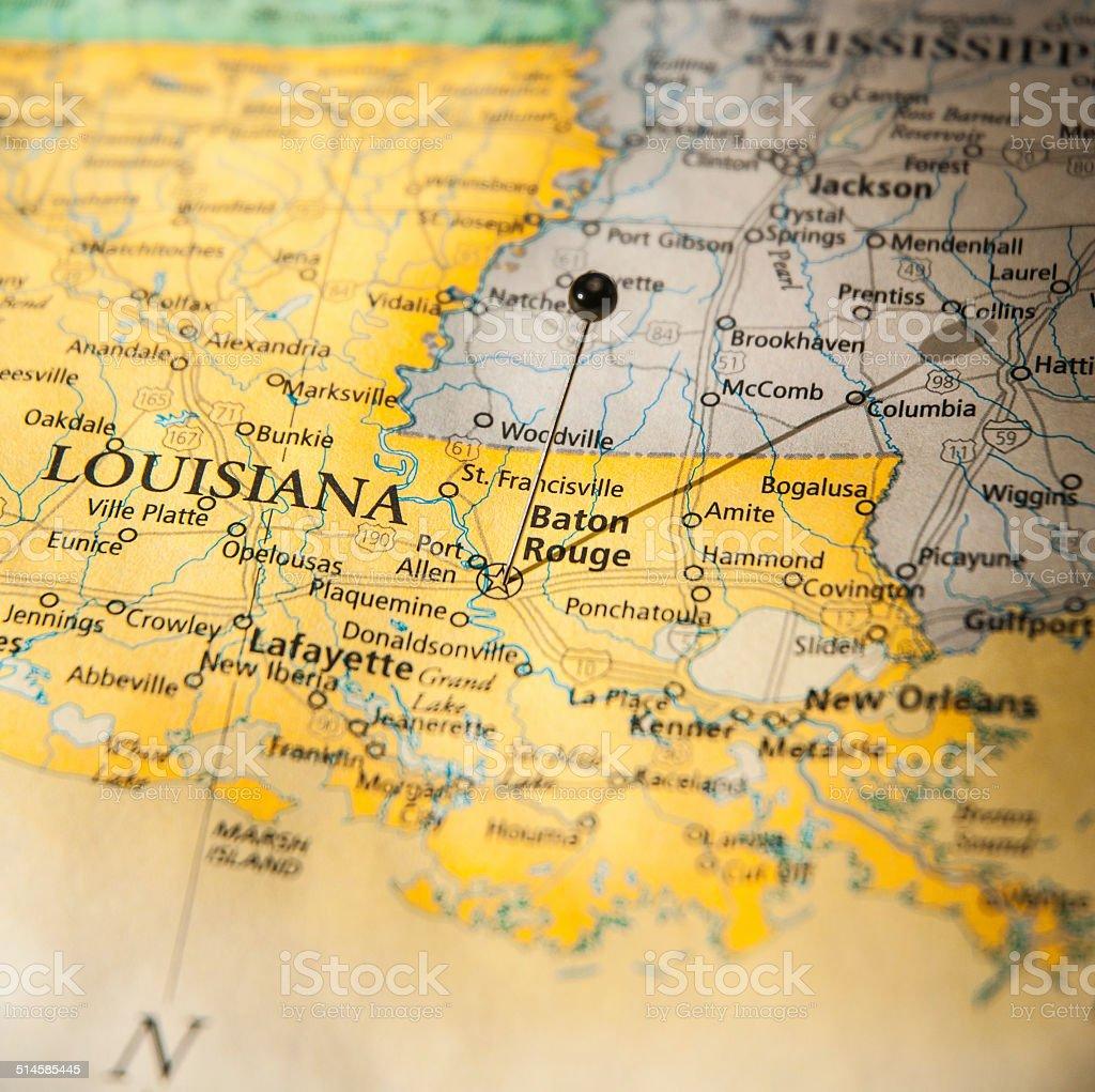Travel Road Map Of Baton Rouge New Orleans Louisiana stock photo