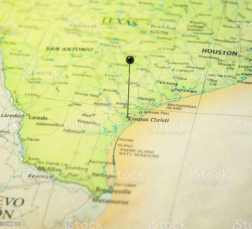 Travel Road Map Of Corpus Christi And Texas Coast stock photo