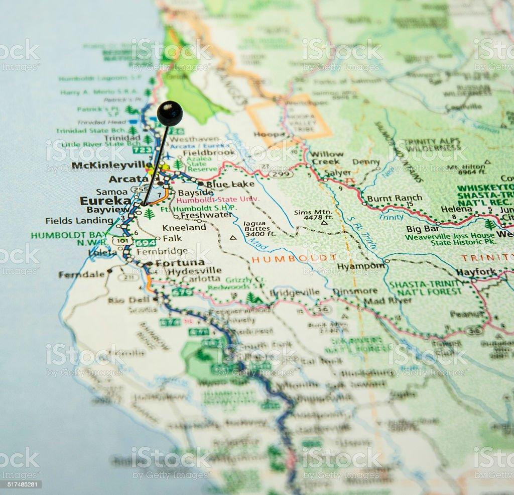 Travel Road Map Of Eureka California Coastline Stock Photo More