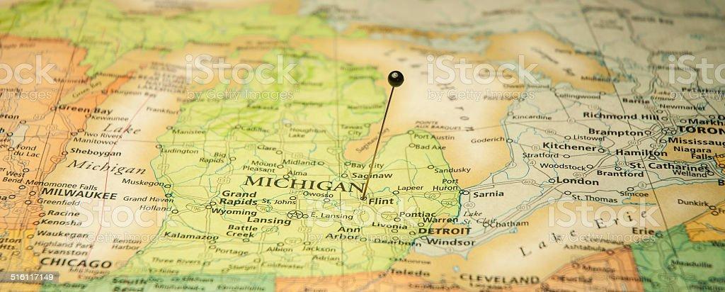 Travel Road Map Of Flint And Detroit Michigan stock photo