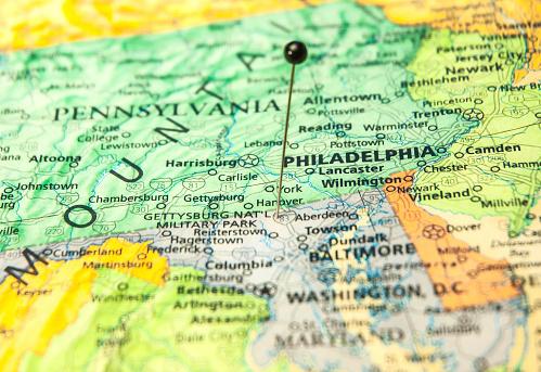 Travel Road Map Of Philadelphia And Washington Dc Area Stock