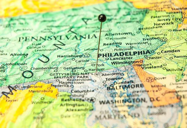 travel straßenkarte von philadelphia und washington, dc - karten de stock-fotos und bilder