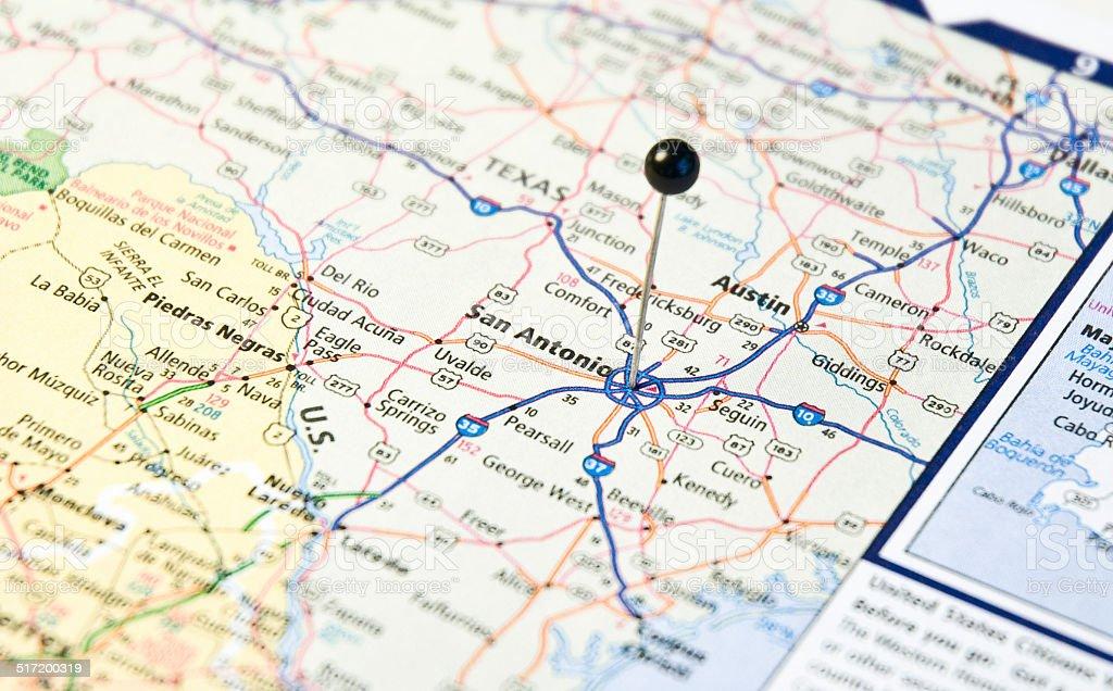 Road Map Of Austin Texas.Travel Road Map Of San Antonio And Austin Texas Stock Photo More