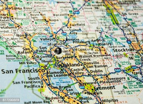istock Travel Road Map Of San Francisco And Oakland California 517200323