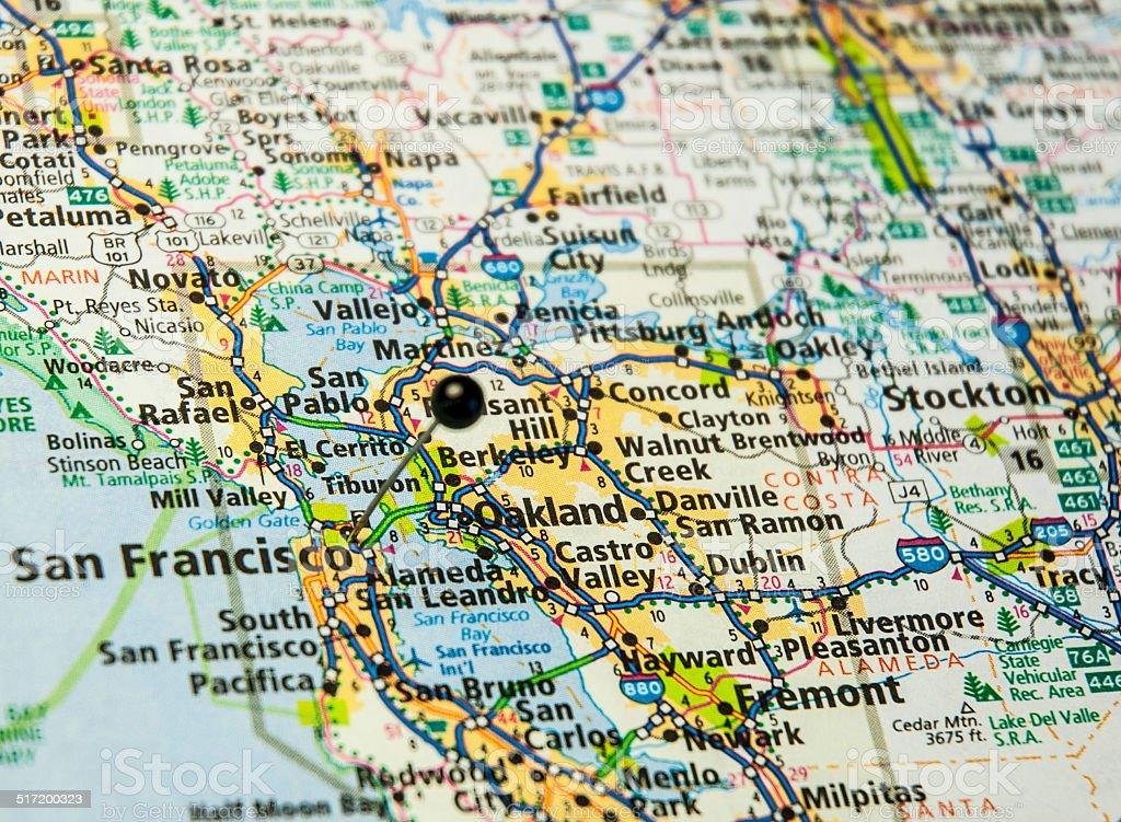 Travel Road Map Of San Francisco And Oakland California stock photo