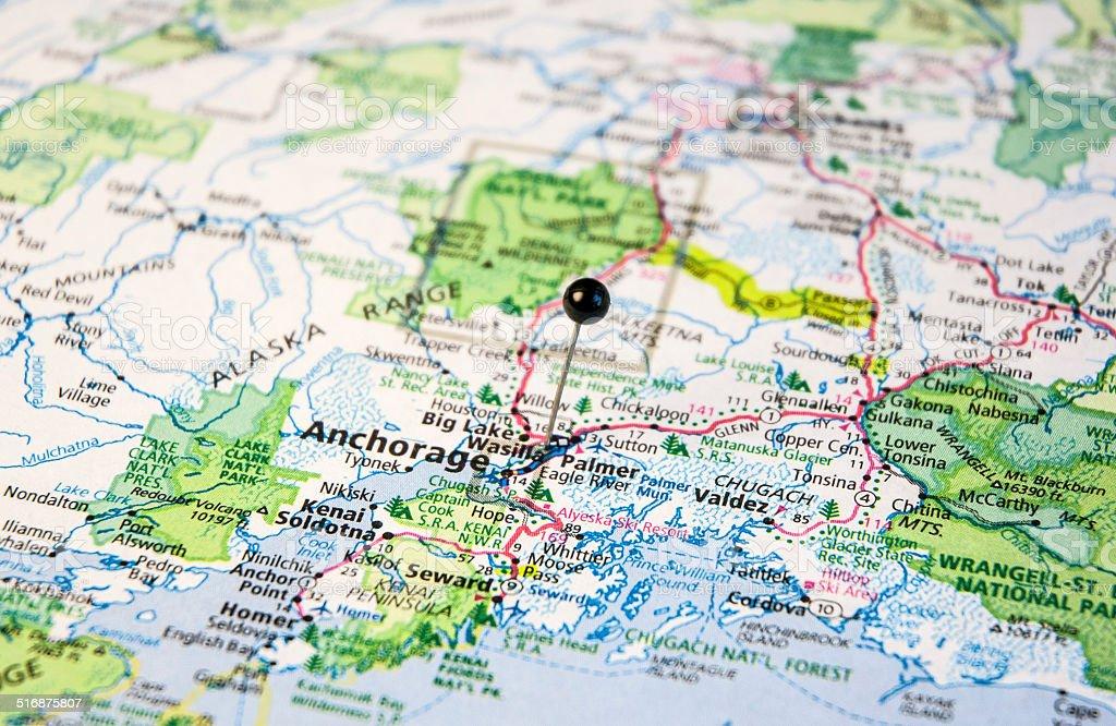 Travel Roadmap Of Anchorage Alaska Valdez And Seward stock photo