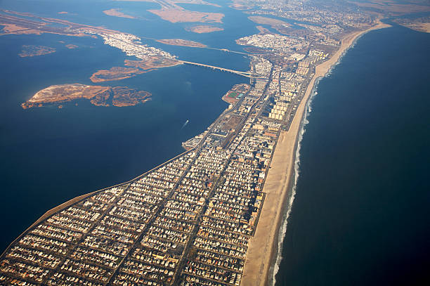 travel series - long island NYC Long Island New York Rockaway beach from above from jet window eyecrave stock pictures, royalty-free photos & images
