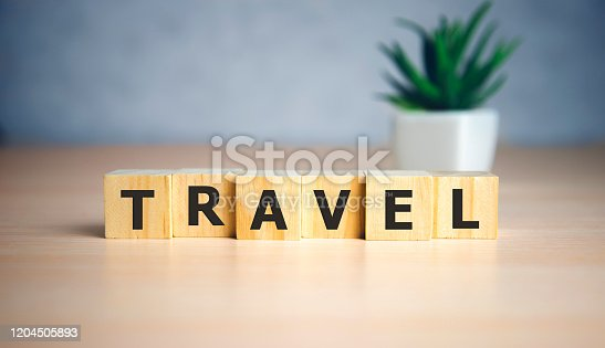 Travel - sign series for travelling on wooden cubes, sightseeing, vacation and holidays. Design template for tourism, travel agencies.