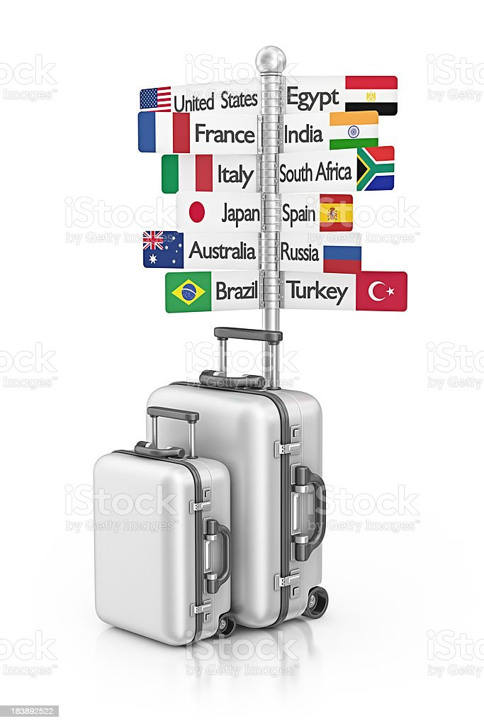 travel signpost and suitcases royalty-free stock photo