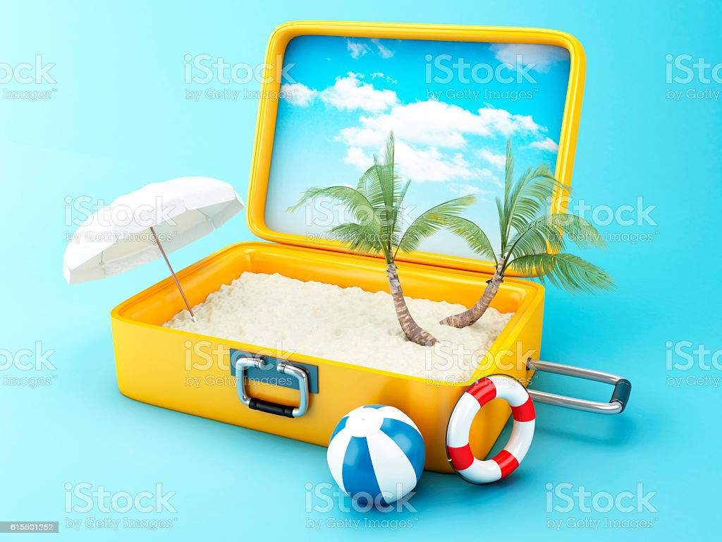 Travel suitcase. beach vacation concept - foto de stock
