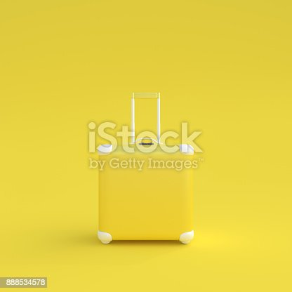 istock Travel suitcase pastel color isolated on white background 888534578