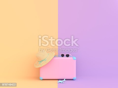 istock Travel suitcase pastel pink and purple color 978749422