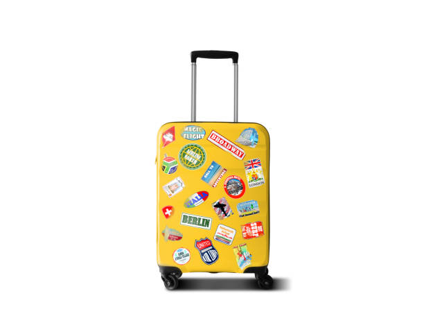 Travel suitcase Yellow bag on the white background travel stock pictures, royalty-free photos & images