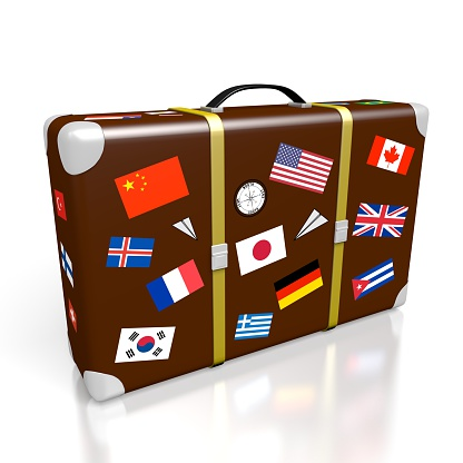 3D travel suitcase with stickers - international flags - great for topics like traveling, journey etc.