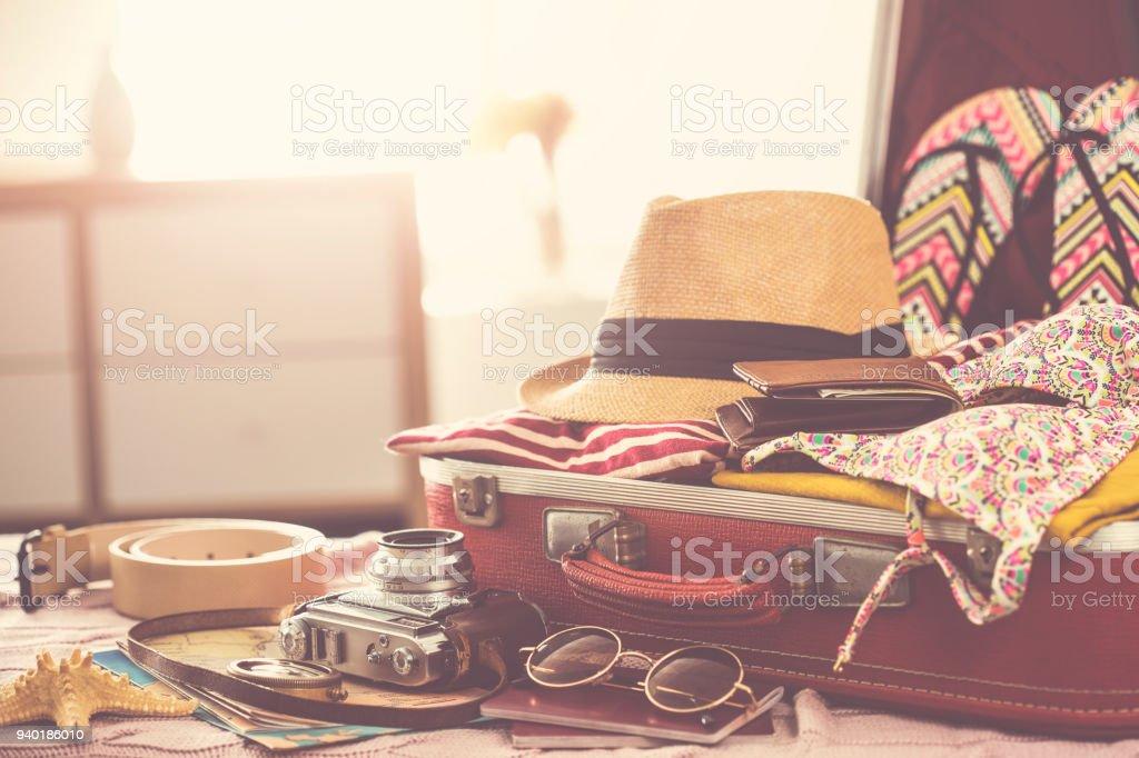 Travel suitcase prepareing concept royalty-free stock photo