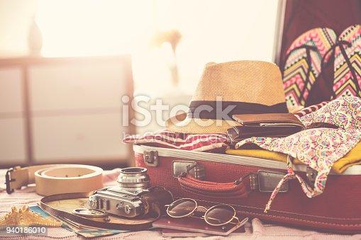 istock Travel suitcase prepareing concept 940186010
