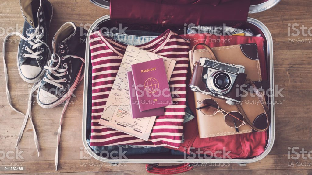 Travel suitcase preparing concept royalty-free stock photo
