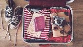 旅行スーツケースの準備コンセプト