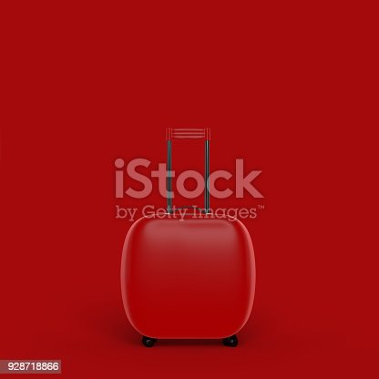 istock Travel suitcase red color isolated on red background with clipping path 928718866